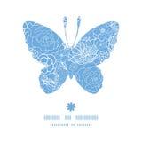 Il pizzo porpora di vettore fiorisce la siluetta della farfalla illustrazione vettoriale