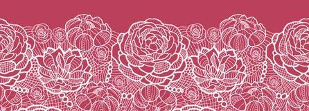 Il pizzo rosso fiorisce il modello senza cuciture orizzontale Fotografie Stock Libere da Diritti