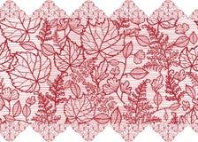Il pizzo rosso fiorisce il modello senza cuciture orizzontale illustrazione vettoriale