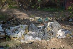 Il plasici dell'immondizia insacca l'ecologia del legno sinistra di concetto Fotografie Stock