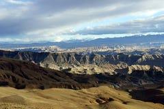 Il plateau tibetano nei raggi del tramonto Fotografia Stock Libera da Diritti