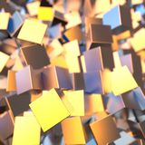 Il platino dell'oro d'argento o bianco blocca il fondo dei cubi Modellistica dell'illustrazione 3d concetto ricco del bitcoin di  illustrazione di stock