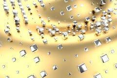 Il platino dell'oro d'argento o bianco blocca i cubi sopra il fondo dell'onda di giallo del metallo Modellistica dell'illustrazio illustrazione di stock