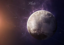 Il Plutone con le lune da spazio che li mostra tutti Immagine Stock