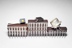Il podio dei premi fatto dei chip elettronici Fotografie Stock