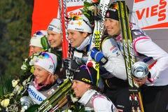 Il podio delle signore nella corsa di sprint della squadra di Milano Fotografie Stock