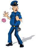 Il poliziotto del fumetto surpised vicino Fotografia Stock Libera da Diritti
