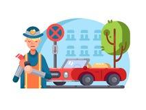 Il poliziotto della pattuglia scrive benissimo royalty illustrazione gratis