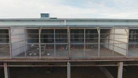 Il pollaio metallico spazioso ha costruito la destra sopra il recinto per bestiame per le pecore e gli agnelli stock footage