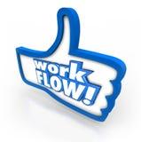 Il pollice di flusso di lavoro su gradisce sistema di produzione funzionante di simbolo del segno il migliore Fotografia Stock
