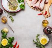 Il pollo collega la preparazione con gli ingredienti della marinata per la griglia o la cottura sul fondo grigio, vista superiore Fotografia Stock