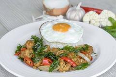 Il pollo croccante cucinato con basilico mangia con riso e l'uovo Fotografia Stock Libera da Diritti