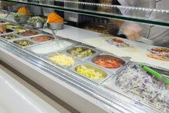 Il pollo di Shawarma arriva a fiumi una pita con gli ortaggi freschi e la crema immagini stock libere da diritti