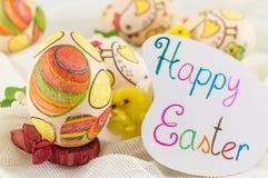 Il pollo ha decorato le uova di Pasqua Immagini Stock