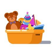 Il pollo lanuginoso della gomma e dell'orsacchiotto gioca in scatola illustrazione di stock