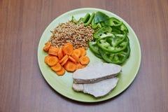 Il pollo o il tacchino cucinato fresco, due fette che si trovano su un verde plat Fotografia Stock