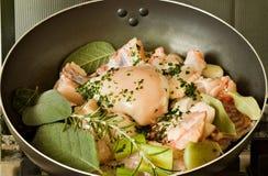 Il pollo, stufato in pomodoro, vino ed erba sauce Fotografie Stock Libere da Diritti