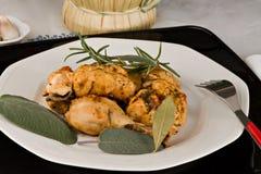Il pollo, stufato in pomodoro, vino ed erba sauce Immagine Stock