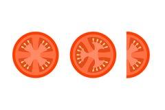 Il pomodoro affetta le icone piane di vettore per la decorazione dell'alimento illustrazione vettoriale