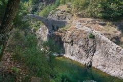 Il Pont du Diable o il ponte del diavolo è un ponte romano che misura il fiume Ardeche fotografia stock libera da diritti