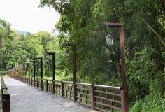 Il ponte attraverso il fiume con i pali elettrici delle lampade a sospensione immagine stock