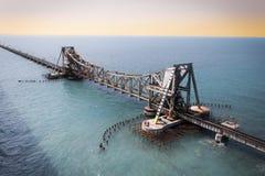 Il ponte della ferrovia di Pamban Fotografia Stock Libera da Diritti