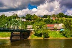 Il ponte della via di Northampton sopra il fiume Delaware in Easton, Fotografie Stock