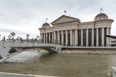Il ponte delle civilizzazioni e del museo archeologico, Repubblica Macedone Immagini Stock