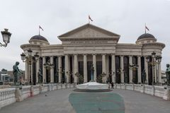 Il ponte delle civilizzazioni e del museo archeologico, Repubblica Macedone Fotografie Stock Libere da Diritti