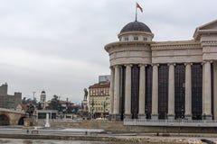 Il ponte delle civilizzazioni e del museo archeologico, Repubblica Macedone Immagine Stock