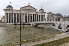 Il ponte delle civilizzazioni e del museo archeologico, Repubblica Macedone Fotografia Stock Libera da Diritti