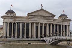 Il ponte delle civilizzazioni e del museo archeologico, Repubblica Macedone Fotografia Stock