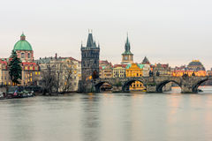 Il ponte di Charles a Praga Fotografie Stock Libere da Diritti