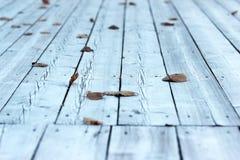 Il ponte di legno in autunno Fotografie Stock Libere da Diritti