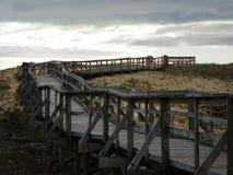 Il ponte di legno conduce attraverso le dune di sabbia Plum Island Fotografia Stock Libera da Diritti
