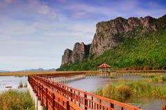 Il ponte di legno lungo Immagini Stock Libere da Diritti