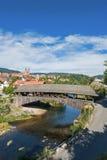 Il ponte di legno storico in Forbach Fotografia Stock