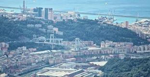 Il ponte di Morandi è sprofondato foto fotografie stock libere da diritti