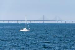 Il ponte di Oresund, visto da Malmo, la Svezia Fotografia Stock