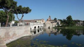Il ponte di Tiberius, Rimini stock footage