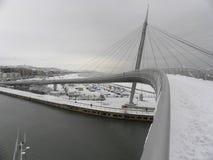 Il ponte nell'inverno con neve immagini stock libere da diritti