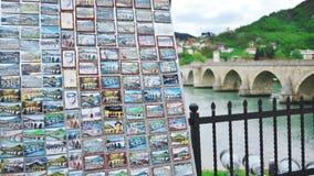 Il ponte sul fiume di Drina a Visegrad immagine stock libera da diritti