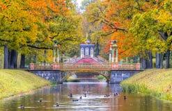 Il ponte trasversale ed il ponte di cinese nella caduta dorata in Alexander parcheggiano, Pushkin, St Petersburg, Russia fotografia stock libera da diritti