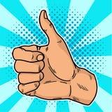 Il Pop art d'annata gradisce Reti sociali di un gesturein del positivo Sfogli su nel retro stile su un fondo della blu-bolla Vett Fotografie Stock