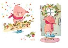 Il porcellino decora la casa per il nuovo anno illustrazione vettoriale