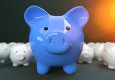Il porcellino salvadanaio conserva l'investimento dei soldi immagini stock
