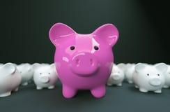 Il porcellino salvadanaio conserva l'investimento dei soldi fotografia stock libera da diritti