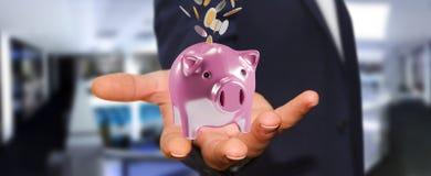 Il porcellino salvadanaio della tenuta dell'uomo d'affari con il volo conia andare dentro 3D Fotografie Stock Libere da Diritti