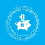 Il porcellino salvadanaio ed il dollaro coniano l'icona su un fondo blu con i cerchi astratti intorno e dispongono per il vostro  Immagine Stock Libera da Diritti