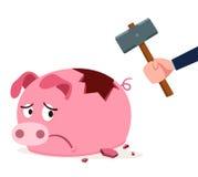 Il porcellino salvadanaio ottiene incrinato Immagine Stock Libera da Diritti